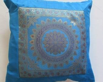 "Mandala Design Indian Cushion Cover Turquoise Colour 16"" x 16"" Bohemian Pillow Case Meditation Yogi Hippie Free UK Shipping"