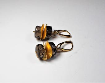 Smoke quartz earrings 925 gold plated