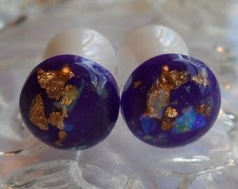 0g Plug, 00g Plug, Purple Gold leaf glitter plug