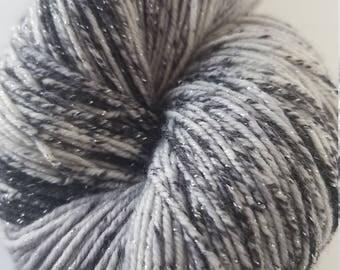 Diamond Mine , hand painted yarn, sparkle yarn, dyed to order