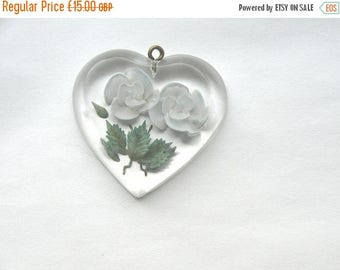 Go on, buy it now - Vintage Retro C1950s Rockabilly Reverse Carved Lucite Heart Pendant