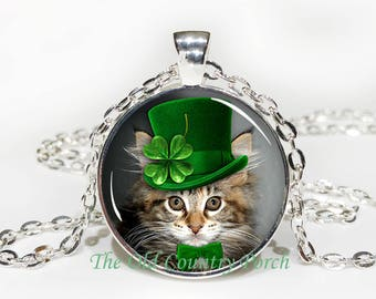 Shamrock Kitten-Top Hat-St. Patrick's Day -Glass Pendant Necklace
