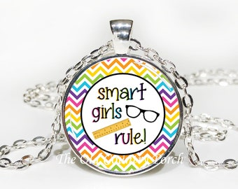 Smart Girls Rule-Glass Pendant Necklace/Inspirational/kid necklace/kid gift/Gift for her/student gift/friend gift/birthday gift/boho