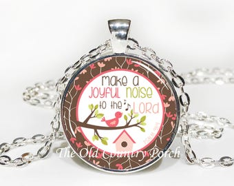 Psalm 98:4-Glass Pendant Necklace/Bible Verse/Scripture/Christian Gift/Religious Jewelry/Faith Necklace/Baptism Gift/Bible Chapter