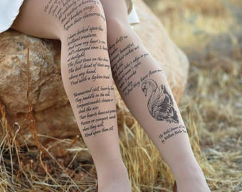 Womens Clothing - The Wild Swans at Coole - William Butler Yeats  - Printed Tights -Quotes- Gray, White,Beige Literature - Poems