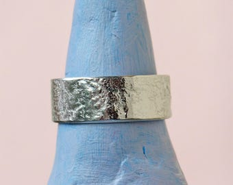Silver Ring - Textured - Reticulated - Sterling Silver Band Ring - Made To Order - All Sizes