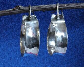Chunky Hoop Statement Silver Earrings