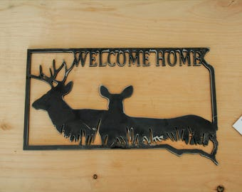 Metal South Dakota Deer Welcome Sign, Cabin Welcome Sign, Deer Hunting Lodge Decor, Deer Cabin Decor, SD Welcome Sign, South Dakota hunter