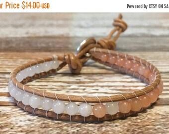 SALE Healing Crystal Bracelet / Pink Aventurine Bracelet / Chakra Healing Bracelet / Single Wrap Bracelet / Chan Luu Style Bracelet