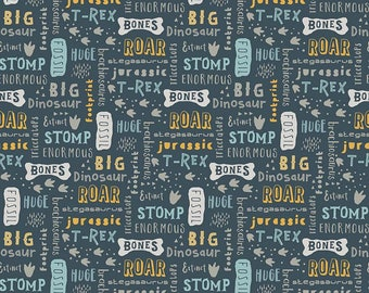1 Yard Fossil Rim by Deena Rutter  for Riley Blake Designs-6611 Words Navy