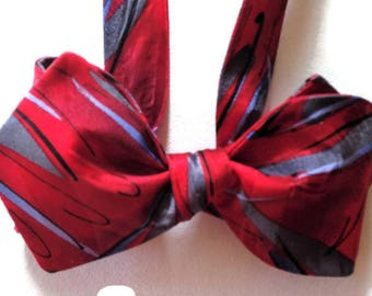 Silk Bow Tie  for Men - Rogue  - One-of-a-Kind, Handcrafted - Self-tie - Free Shipping