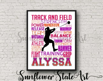 Personalized Hammer Throw Poster, Track and Field Poster, Track and Field Team Gift, Long Jump, High Jump, Pole Vaulter Typography