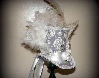 On Sale- Mini Gray Top Hat Gothic Fascinator White  Steampunk Mad Hatter  Gothic Cosplay Costume Bridal Wonderland Tea Part