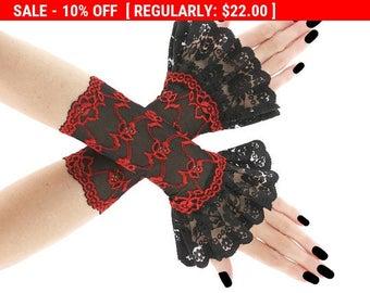 Red black short fingerless gloves, wrist warmers gothic burlesque goth vintage, womens evening gloves, black lace gloves vampire lolita 01E