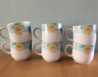 Sweet vintage set of 6 Sango Passion coffee mugs white ceramic with yellow pink & blue flower design for tropical Old Florida home!