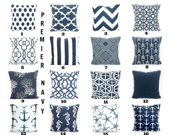 Navy Blue Pillow Covers, Decorative Throw Pillows, Cushion Covers, Navy White Chevron Nautical Home Decor One or More Mix & Match All Sizes