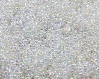 Size 11/0 Glossy Finish Crystal AB Miyuki Glass Seed Beads - Sold by 23 Gram Tubes (~ 2500 Beads / Tube) - (11-9250)