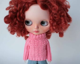 Blythe sweater, Pink sweater for Blythe doll, Knitted Blythe outfit, Pink doll clothes, Blythe pink pullover, Collectible doll knit jumper