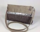 Evening bag, removable shoulder strap, taupe suede and linen braided, silver glitter / vegan shoulder bag or handbag / handmade in france