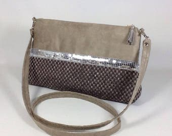 shoulder bag taupe suede and linen woven with silver glitter