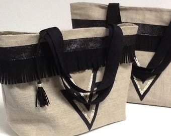 Tote bag in linen with sequins, gold and black, black fringed small idea gift/shopping bag boho fringe bag/ethnic linen glitter gold
