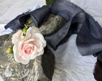 SLATE plant dyed recycled sari silk ribbon//hand dyed ribbon//blue ribbon//wedding ribbon//bridal ribbon//styling ribbon//stationery ribbon