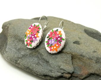 Pink flower earrings, colorful flower earrings, delicate dangle earrings, anniversary gift for her, charm earrings, special occasion