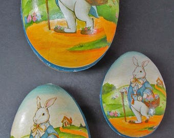 "Easter 119 Egg Candy Container Paper Set of 3 Nesting 8"" 6"" 5"" Vintage Midwest"