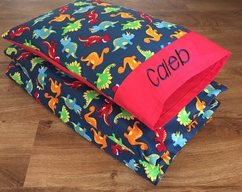 """Boy Nap Mat Cover & Personalized Toddler Pillow, Dinosaur/RED Cotton (Fits 5/8""""x19""""x45"""" or 1""""x19""""x45"""" or 2""""x19""""x44"""" Vinyl Mat)"""