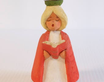 Vintage Choir Girl - Henning Norway hand carved wood Christmas choir girl candleholder 5 inches tall