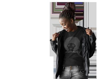 Good Hair, Natural Hair Trendy Fitted White & Black Ladies T-Shirt, Cute Graphics Tee, Fitted Short Sleeve Tee, Screen Printed Tee
