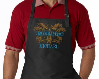 Personalized Men's Apron, Embroidered Brewmaster, Custom Bbq Apron