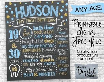 PRINTABLE Blue Gold Glitter Birthday Chalkboard Sign / Poster / Boy / First 1st Birthday Party Milestones / Confetti DIGITAL JPEG File