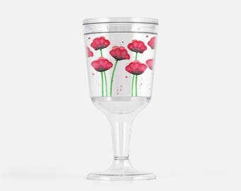 Acrylic Wine Glass. Poppy Wine Glass. Plastic Wine Goblet. Wine Gift. Wine Lover Gift. Gift for Her. Girlfriend Gift. Girls Weekend Favor.