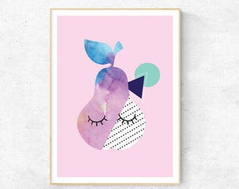 Sleepy Pear Watercolour A3 & A4  Print DIY PRINTABLE