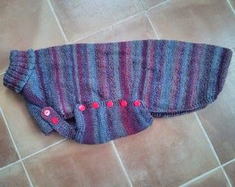 Extralarge greyhound jumper in claret and grey - Ready to post