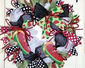 Spring wreath front door, Summer door wreath, Watermelon Wreath, Flip Flop wreath, bright Summer wreath, Mesh door wreath, whimsical wreath