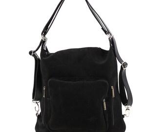 Suede Leather Messenger Bag, Black Backpack, Suede Leather Bag, Women Messenger Bag, Black Shoulder Bag, Shoulder Backpack, Convertible Bag