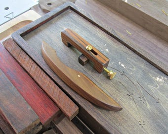 Dulcimer Capo And Noter Set, Bocote And Walnut With Brass Hardware, New Age Mountain Dulcimer Accessories