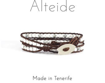 Bracelet Mar de nubes 2 waves - Alteide - made in Tenerife - surf inspired - 925 Silver - man woman - White Howlite