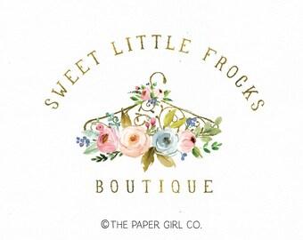 hanger logo design dress logo boutique logo floral logo photography logo baby boutique logo children's shop logo premade logo gold foil logo