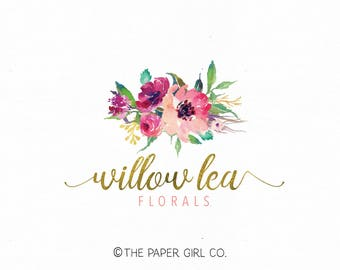 florist logo design floral logo design flower logo design watercolor logo gold foil logo photography logo premade logo wedding planner logo