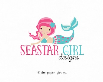 mermaid logo nautical logo character logo little mermaid girl logo ocean logo premade logo photography logo children's boutique logo design
