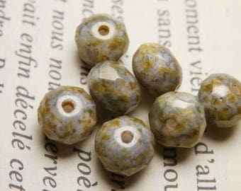 10 faceted beads, 7X5mm, effect stone picasso finish