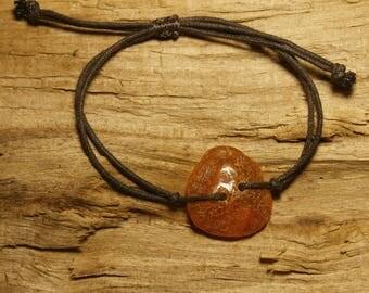 Natural amber A14, tiny bracelet adjustable cord