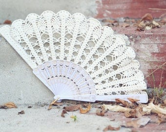Lace Fan- Hand Held Fan- Handmade Lace Hand Fan- Folding Hand Fan- Spanish Wedding Fan- Bridal Fan- Wedding Prop- Mother Of The Bride Gift