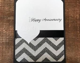 Chevron and Heart Anniversary Card