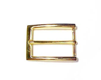 """Gold toned metal rectangle belt buckle for 1 1/4"""" belt"""