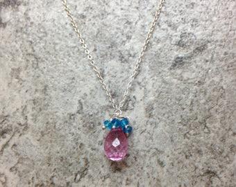 Pink Topaz briolette & Neon Apatite faceted rondelle Genuine Gemstone Charm pendant necklace 925