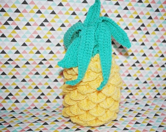 Decorative yellow and green pineapple crochet